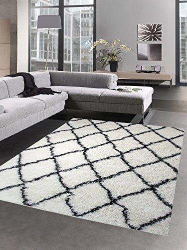 CARPETIA Shaggy Teppich Wohnzimmerteppich Hochflor Langflor Rauten Creme schwarz Größe 80x150 cm