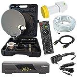 netshop 25 HD Camping Sat Anlage im Koffer 35cm Schüssel mit Digital Easy-Finder Single LNB 0,1dB mit 10m Kabel und HD Sat Receiver für 12 & 230 Volt für mobil SD und HD Empfang