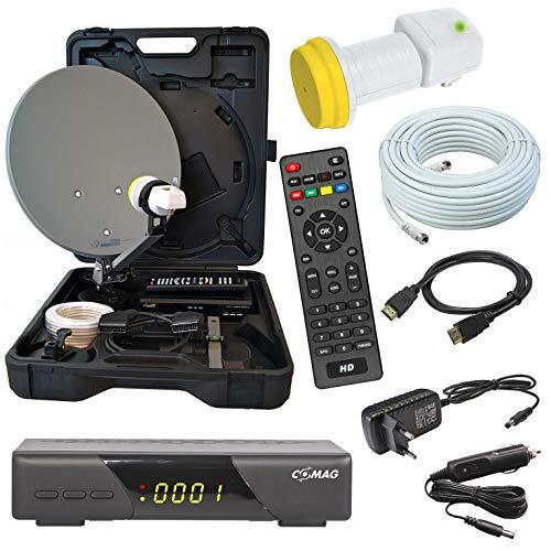 HD Camping Sat Anlage im Koffer 35cm Schüssel mit Digital Easy-FIND Single LNB 0,1dB mit 10m Kabel und HD Sat Receiver für 12 & 230 Volt für mobil SD und HD Empfang