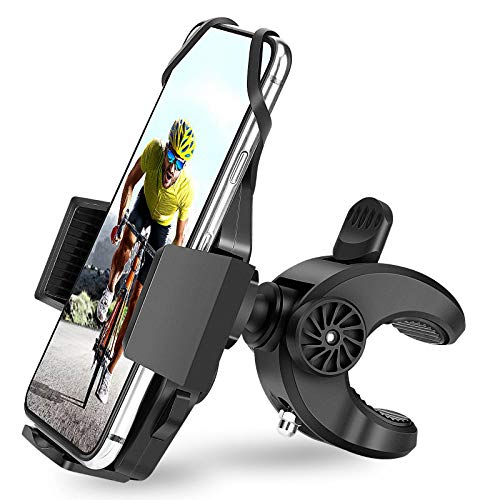 """AONKEY Bike Phone Mount – One Touch Release Phone Holder for Bike Handlebar/Stem, Universal Mountain Bicycle & Motorcycle Holder Compatible with iPhone 12, Pro/11Pro/XS, 4""""- 6.8"""" Cell Phones"""