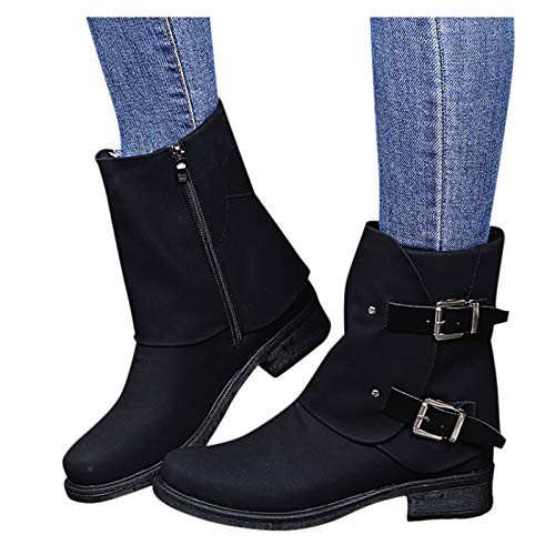 Simayixxch Women Retro Ankle Boots Round Toe Low Heel Buckle Strap Patchwork Suede Short Boot Zipper Party Knight Booties Black
