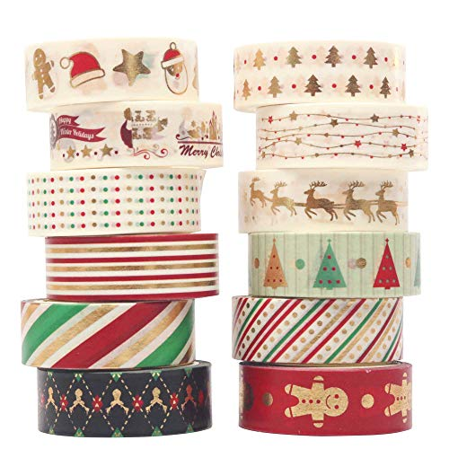 Pollenzic Christmas Washi Tape Colored Tape Set of 12 Rolls Foil Gold Merry Christmas Holiday Colorful Washi Paper 15mm Wide 5meter Leng DIY Arts Crafts Tape Gift Wrapping Tape Decoration Wall Tape