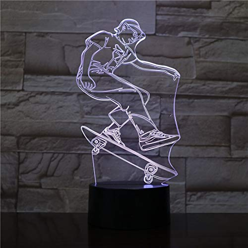 Figura de Jugador de monopatín luz Visible decoración de la habitación Interior Regalo Genial para la decoración de la habitación de los niños luz Nocturna