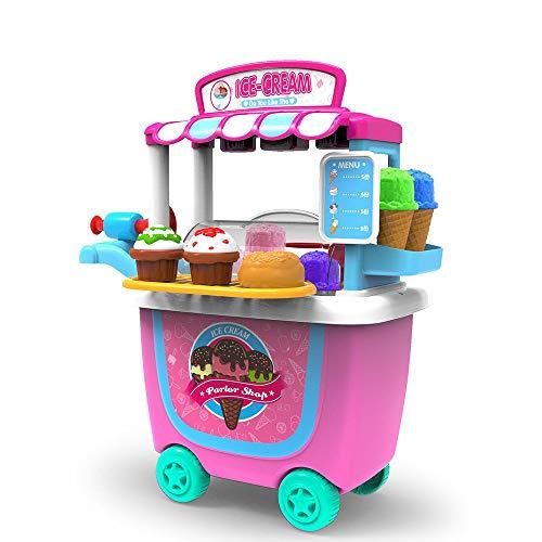 Homejuan Simulación para Niños, Pastel De Cocina, Helado, Caramelo, Helado, Carrito, Casa De Juego, Juego De Juguetes, Carro