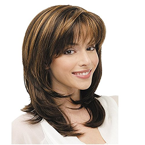 Royalfirst Highlights Wigs Brown Shoulder Length Layered Bob Wigs Womens Wigs Synthetic Hair