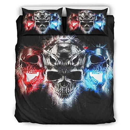 superyu Juego de colcha colorido cráneo brillante estilo pareja ropa de cama estilo pareja para compañeros de piso blanco 104x90 pulgadas