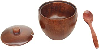 Povinmos Solid Wood Sugar Bowl with Wooden Spoon and Lid, Unbreakable and Durable