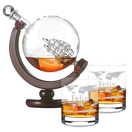 polar-effekt Whiskykaraffe Globus Segelschiff mit Weltkarte - Zwei Whiskygläser Tumbler mit Gravur Motiv Weltkarte - Whisky-Flasche Weltkugel Dekanter aus Glas 850ml - Geschenk für Männer