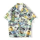 アロハシャツ メンズ 大きいサイズ 半袖 ハワイ風 夏 ゆったり リゾート サーフィン オシャレ ビーチシャツ 速乾 海 プリントシャツ 開襟シャツ サマーシャツ グリーン M L XL XXL
