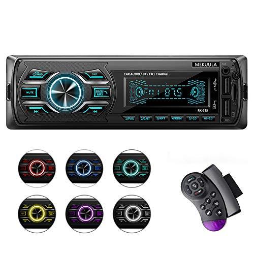 Autoradio Bluetooth, Auto Stereo Audio Ricevitore, MEKUULA 1-DIN Auto Lettore MP3, Autoradio MP3 Stereo 7 Colori LCD Autoradio Lettore con Bluetooth/USB/EQ/SD/AUX/FM con Telecomando sul volante