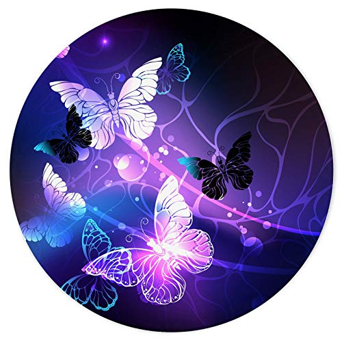 NNAKAPAKA Mouse Pad,Anti Slip Rubber Round Mousepads Desktop Notebook Mouse Mat for Working and Gaming (Wondrous Purple Butterfly)