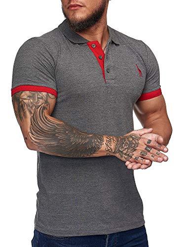 OneRedox Herren Poloshirt Polohemd Basic Kurzarm Einfarbig Slim Fit Polo Shirt Baumwolle T-Shirt Polokragen M-XXXL Modell 1404 Antrazit M