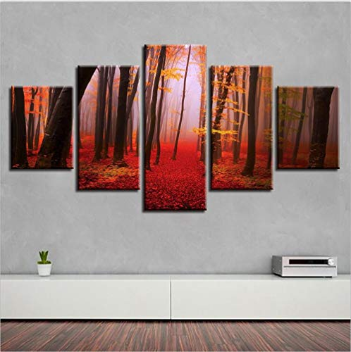 Chuixiaoxiao1 Modern Canvas Prints 5 Piece Wall Art Red woods Home Decoration Painting Printed on Canvas for Bedroom Living Room Bathroom Office Home Decoration