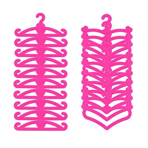 Perchas de ropa para muñecas, perchas de plástico rosa Accesorios para muñecas Se adapta a 11.5 pulgadas / 30cm Vestido de ropa para muñecas Juego de 20 por SamGreatWorld