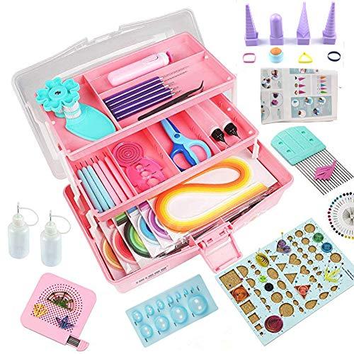 Quilling-Set, Quilling-Werkzeuge, Papier-Quilling-Set mit Aufbewahrungsbox Rosafarbene Box