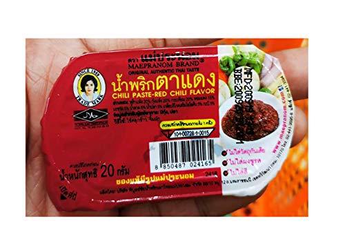 Best Chili Paste Red-chili Flavor (Nam Prik Ta-dang) Thai Original Spicy Herbal Food Net Wt 20 G.(Pack of 7) Mae-pranom Brand Halal certified // Benjawan Shop