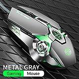 King Boutiques Mouse PRO Gamer Gaming Mouse 3200DPI Regolabile Ottico con Cavo LED Computer Mouse Cavo USB Silenzioso Mouse for Il Computer Portatile del PC Mousepad Tablet (Color : Q7 Gray)