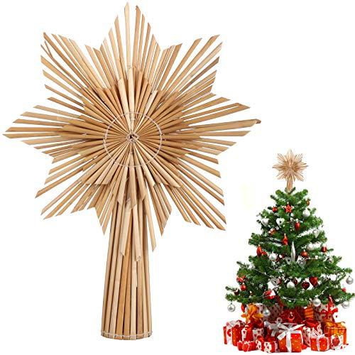EKKONG Étoile Sapin de Noel, Pointe de Sapin Noël en Paille
