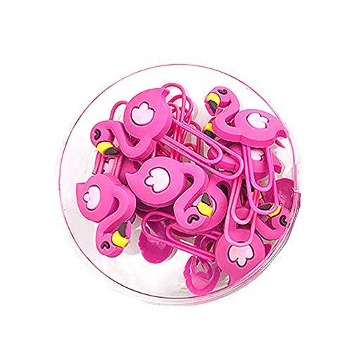 12 Stück Flamingo-Büroklammern, niedliche Tiere, Lesezeichen, Büroklammern mit Kunststoff-Box, große Büroklammern für Bürobedarf