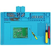 Preciva Soldering Mat, 500℃ Heat Resistant Silicone Work Mat, Multi-purpose Magnetic Electronics Repair Pad for Welding and Soldering Station With Ruler and Screw Notches, 450*300mm
