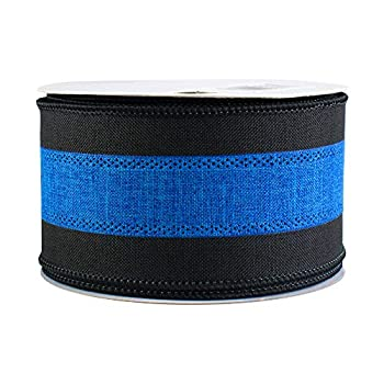 Black and Blue Wired Ribbon - 2 1/2  x 10 Yards Police Support 4th of July Memorial Day President s Day Law Enforcement Appreciation Thin Blue Line Awareness Birthday Fundraiser Ceremony