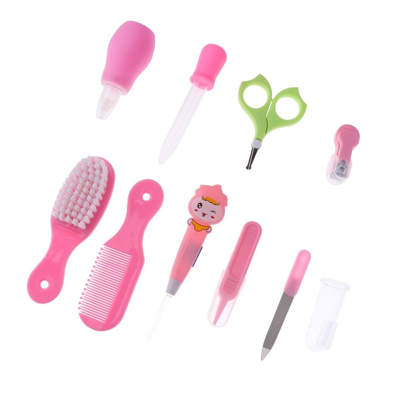 ひばり稚魚タブレットGRALARA プラスチック 10本  爪 ヘア ケア グルーミング ブラシ キット  赤ちゃん 子供 全2色 - ピンク