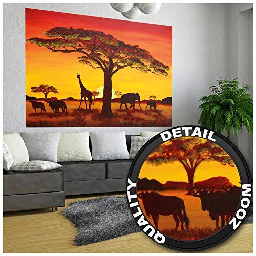 GREAT ART® Fototapete – Sonnenuntergang Afrika – Wandbild Dekoration Elefant Giraffe Büffel Savanne Steppe Prärie Landschaft Africa Sunset Foto-Tapete Wandtapete Fotoposter (210 x 140 cm)