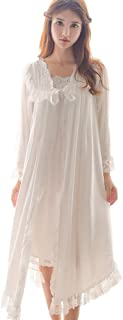 Womens Victorian Nightgown Vintage 2 pcs Sleepwear Nightdress Robes Royal Pajamas Lounge Wear