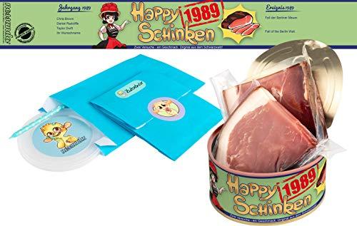 Happy Schinken | 200 Gramm Schwarzwälder Schinken in der Dose | Personalisiert mit Wunsch- Geburtsjahr und Namen | Geburtstagsgeschenk | Geschenk | Geschenkidee (1989)
