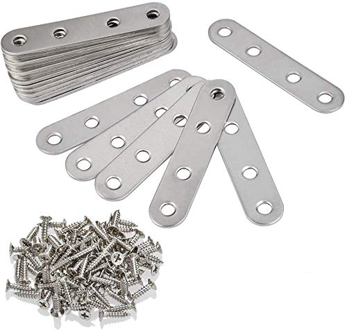 BUYGOO 20Pcs Straight Bracket with Screws Heavy Duty Stainless Steel Fixing Plate Flat Panel for Repair Fixing Wood, Furniture and DIY Projects(76 x 16 x 1.8mm)