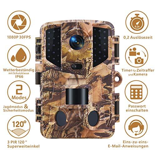 TOMSHOO Telecamera per Fauna Selvatica con Rilevatore di Movimento per Visione Notturna 16MP 1080P, Telecamera da Caccia per Natura All\'aperto, Giardino, Sorveglianza di Sicurezza Domestica