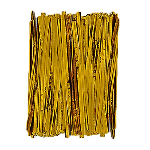 Baking Addict Metallic Twist Ties for Pop Treat Party Favor Bags & More, 3' W, Gold, 100 Count