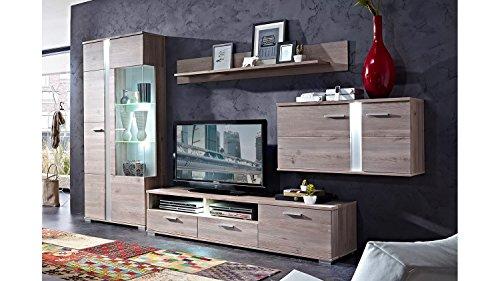 Möbel Akut Wohnwand Malibu 2 Landhausstil Silbereiche mit LED Beleuchtung