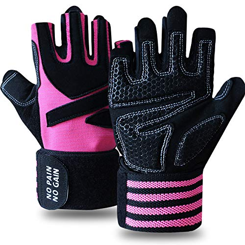 Weight Lifting Gloves with Wrist Support Work Out Gym Gloves Men Women with Wrist Wraps Support, Anti-Slip Grip Half Finger Gloves for Exercise, Weightlifting Hanging (Pink, M)