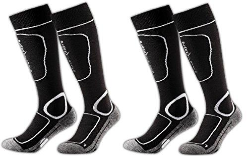 Black Crevice Chaussettes de Ski, Snowboard, avec Fonction et Rembourrage en Lot de 2 Paires, Unisexe, 2 Couleurs Assorties, 3 Tailles Multicolore Noir/Blanc 35-38