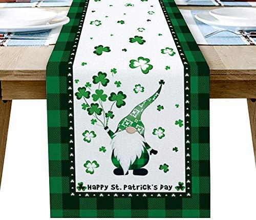 A/H St. Patrick's Day Jute Tischdecke, Maschinenwaschbar mit irischem keltischem Knotenmuster, Tischset wärmeisolierend und rutschfest für die Küche Dekorative (33×229)