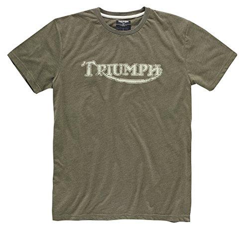 Camiseta de motorista con logotipo vintage original de Triumph, color caqui.