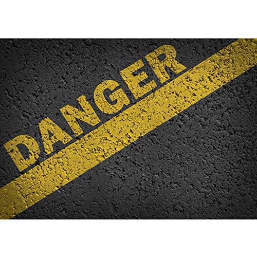 Papel Pintado Fotográfico Premium Plus fotográfico pintado–cuadro de pared–mensaje de texto Danger asfalto piedra–No. 2820, Antracita, 208x146cm Vlies