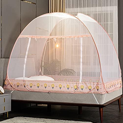 Mosquitera pop-up de 180 x 200 x 150 cm grande portátil tienda de campaña de viaje con una sola puerta con cremallera, con fondo de red portátil mosquiteros de viaje rosa-75 x 47 x 55 pulgadas