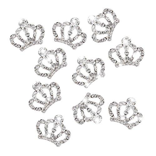 WINOMO 10 Stück Strasssteine Krone Kristall für Handys Nailart Dekoration (Silber)
