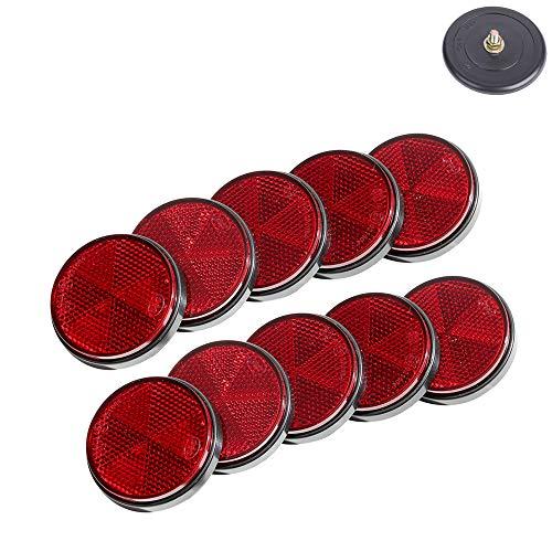 TAEUYYM 10 x Rund Rot Rückstrahler, Anhänger Rund Reflektoren Rot Katzenauge Reflektor, Schraube Befestigung Katzenauge Reflektor, Roter Rückstrahler Für Wohnwagen Traktor Reflektoren Anhänger(Rot)