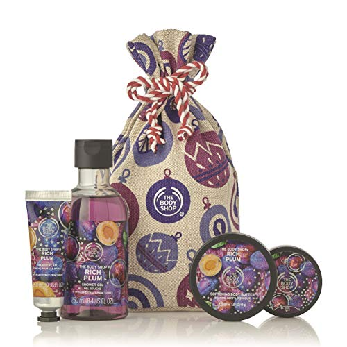The Body Shop Rich Plum Gift Sack, Exclusive Holiday Scent, Made with Community Trade Shea Butter, 4 Piece