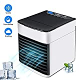D.R. Tragbare Klimaanlage Luftkühler,Mini Luftkühler Mobile Klimageräte,Luftbefeuchter&Luftreiniger Ventilator mit USB Anschluß 3 Stufen und 7 Farben LED Nachtlicht