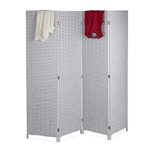 Relaxdays Paravent Raumteiler, 4-teilig, HxB: 180 x 180 cm, Faltbarer Raumtrenner, Sichtschutz, Kunststoff, weiß-grau