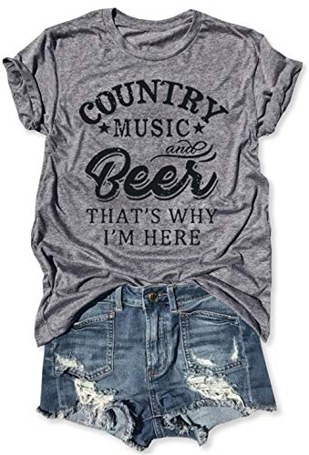 LANMERTREE kikisa Country Music and Beer That's Why I'm Here T Shirt Women's Short Sleeve Tops Blouse (XX-Large, Grey)