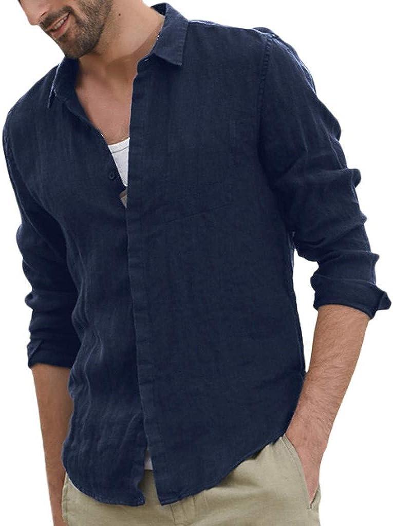 UBST Cotton Linen Shirts for Mens, Fall Button Down Beach Tops Long Sleeve Curved Hem Lightweight Basic Casual Shirts