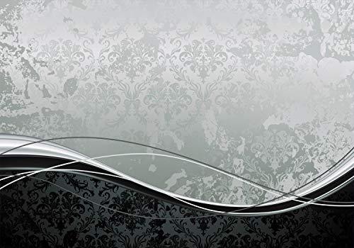 wandmotiv24 Fototapete Muster Barock Effekt, S 200 x 140cm - 4 Teile, Fototapeten, Wandbild, Motivtapeten, Vlies-Tapeten, Linien, geschwungen, kontrast M0308