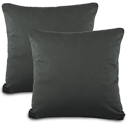 aqua-textil Classic Line Kissenbezug 2er-Set 80 x 80 cm anthrazit grau Baumwolle Kissen Bezug Reißverschluss Jersey Kissenhülle
