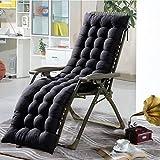 Cojín para silla de salón o tumbona reclinable, cojín con diseño de colchón para tumbonas en el patio, jardín, exteriores, galería, de Soddyenergy., negro