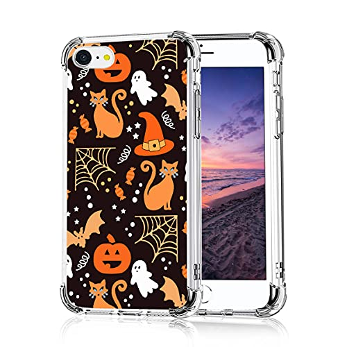 Halloween Phone Case for iPhone 11 12 Pro Max Mini XS XR X 7 8 Plus, Funny Cute Pumpkin Ghost Skull Soft TPU Shockproof Protective Cases Cover